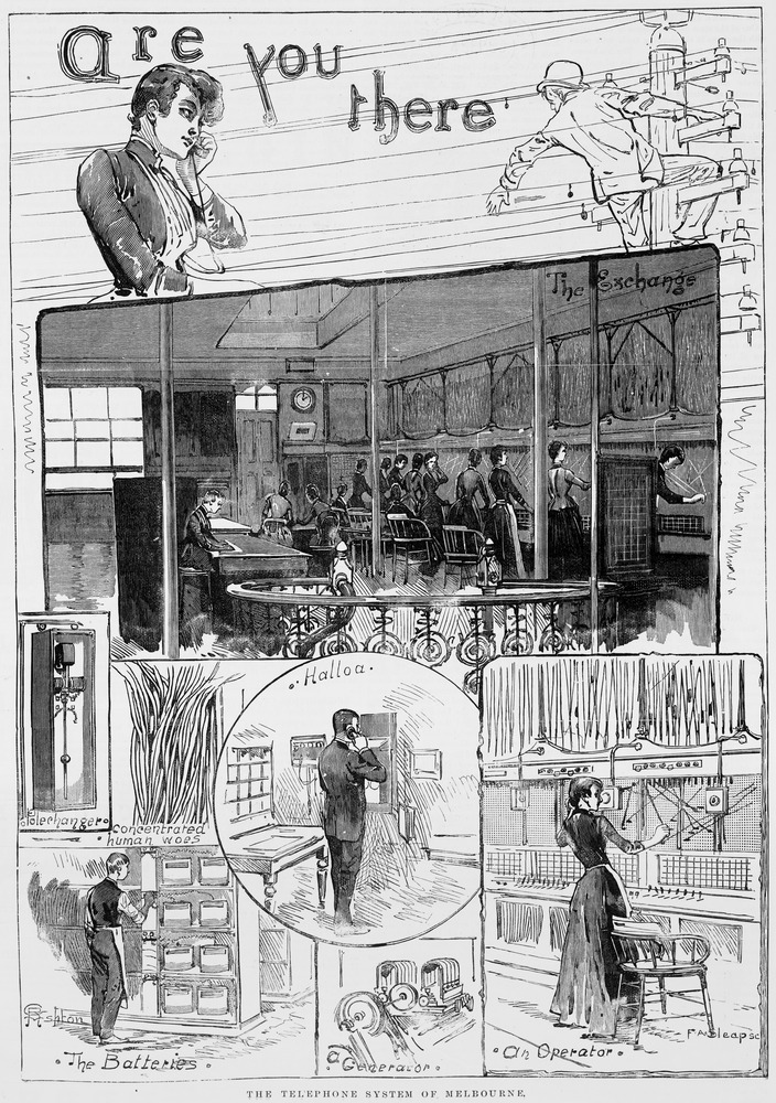 An early steampunk-themed storyboard for THE MATRIX. Neo (centre); Trinity (lower right); evil AI, tending human-powered battery pods (lower left); concentrated human woes, etc.The telephone system of Melbourne. Wood engraving, engraved by F A Sleap. Published 1 September, 1890, Melbourne, by David Syme & Co. State Library of Victoria, accession no. IAN01/09/90/8.