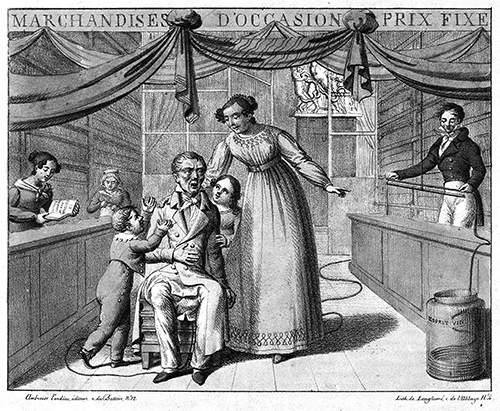 Early operating system upgrades required much longer and more disgusting download times than those described by the author. [An extremely long parasitical worm being extracted from an emaciated linen draper. The man's doctor can be seen on the right measuring the worm and resting it into a jar marked 'Esprit vin'. Plate to: Album comique de pathologie pittoresque, Paris: Ambroise Tardieu, 1823. Wellcome Library no. 16254i]