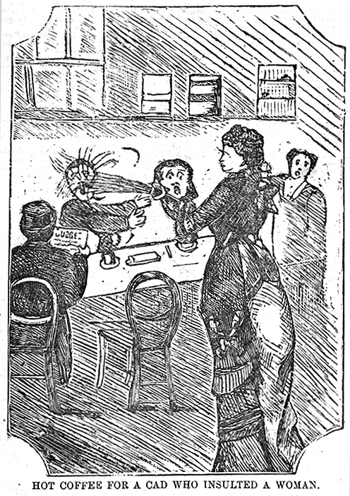 "The only good use for a pumpkin spice latte (especially one from Tim Hortons). Note the bodiless head that has apparated above the hot coffee in question—another hazard of ""seasonal menus"".  Hot coffee for a cad who insulted a woman . Wood engraving, published in  Police News , 25 November 1876, by Richard Egan Lee, Melbourne. State Library of Victoria, PN25/11/76/00."