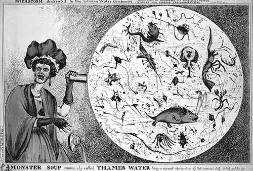 Scene from an unaired Supernatural episode where Sam and Dean visit a diner run by a demon and accidentally drink demonic soup. Here, the demon summons more demonic soup in her oversized crystal ball. Studio executives pulled the episode as they thought it would anger the powerful Diner Lobby.  Monster Soup, commonly called Thames Water , coloured engraving by William Heath, published by T McLean, London, 1828.  Wellcome Library, image no.   L0006579.