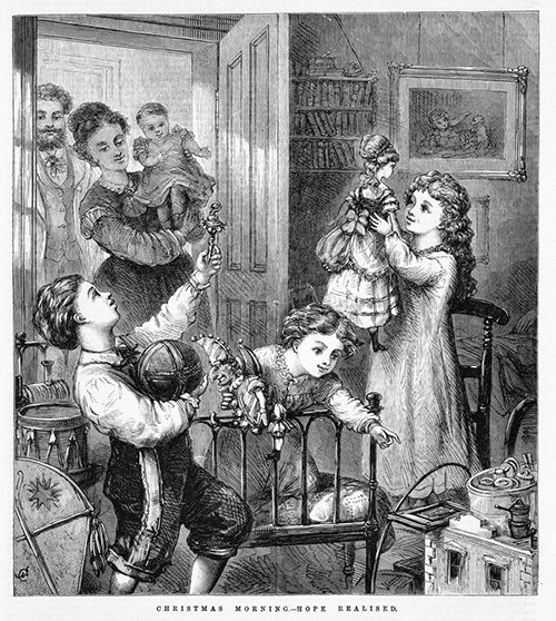 PRESENTS: THEY'RE IN THE BIBLE. 'Christmas morning—hope realised'. Wood engraving by E Evans (engraver) and N Chevalier (artist). Published in  The illustrated Australian news for home readers , December 31, 1872 by Ebenezer and David Syme, Melbourne. State Library of Victoria, IAN31/12/72/SUPP/265.