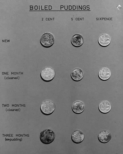 "Scientific demonstration of the effects of Christmas pudding on the new decimal coins, 1966, from the National Archives of Australia. It is a sad state of affairs when we can no longer describe items as being ""ex-pudding""."