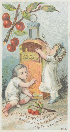 We're not claiming that cherry clafoutis can cure all diseases of the throat and lungs like Ayer's Cherry Pectoral could but it's still pretty good for what ails you (unless what ails you is dairy intolerance). Advertising postcard published by Dr J C Ayer & Co. c1870s. Wellcome Library, London, image no. L0041339.