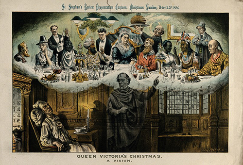It is not ENTIRELY clear what is going on in this image and it might in fact be terribly racist but hopefully ghost Disraeli is pointing out to Gladstone how nice it is to welcome persons of all nations to join in our bountiful repast, but probably he is just pointing out that Gladstone wasn't invited. [A political cartoon depicting William Gladstone as Charles Dickens' Scrooge. He is being shown a vision by Benjamin Disraeli as one of the Christmas ghosts of Queen Victoria sharing Christmas dinner with people from different parts of the British Empire including India, Africa, the Caribbean, Asia and North America]. Lithograph by Tom Merry published in St Stephen's Review, 25 December 1886. Wellcome Library, reference no. 565025i, online image no. V0050360.