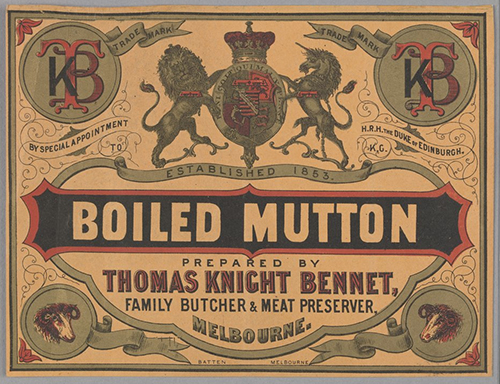 Pale apricot packets shall designate boiled mutton flavour. Mmm, boiled mutton. [Boiled Mutton prepared by Thomas Knight Bennet], 1873. State Library of Victoria, H96.160/2345.