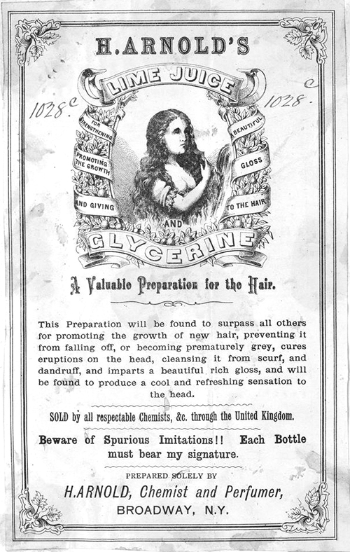 Not even Pert 2-in-1 claims to cure 'eruptions on the head'. How has H Arnold's amazing preparation escaped the notice of global multinationals? [H. Arnold's Lime Juice and Glycerine], lithograph, 1876. State Library of Victoria, Victorian Patent Office Copyright Collection, accession no. H96.160/2244.