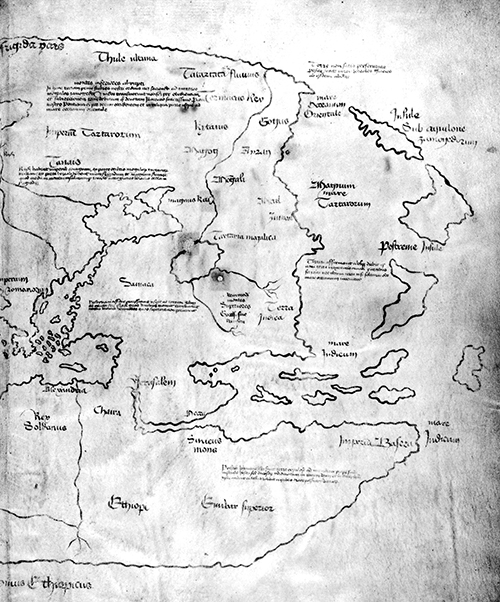 The Vinland map  [partial image], c. 1400, black ink on animal skin. Image from Yale University and  Wikimedia Commons . The Vinland map, discovered in 1957, is purportedly a fifteenth-century copy of a thirteenth-century original. If authentic, the map is the first known depiction of the North American coastline, created before Columbus's 1492 voyage. Most scholars and scientists who have studied the map have concluded that it is a fake, probably drawn on old parchment in the twentieth century.   However, chemist Garman Harbottle, after carbon-dating the parchment map at the US Department of Energy's Brookhaven National Laboratory in 2002, stated that 'if it is, in fact, a forgery, then the forger was surely one of the most skillful criminals ever to pursue that line of work'. The map is kept at  Yale University's Beinecke Rare Book and Manuscript Library .