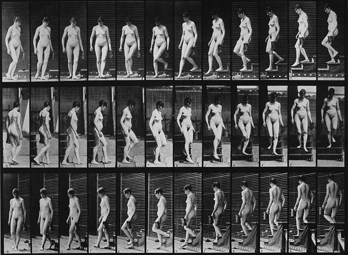 'Descending stairs and turning with a pitcher in left hand' by Eadweard Muybridge. Plate 138 in Animal locomotion: an electro-photographic investigation of consecutive phases of animal movements, 1887, and published under the auspices of the University of Pennsylvania. This image sourced from Wikimedia Commons and the University of Southern California Digital Library, 2010.