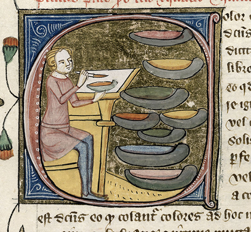 An artist mixes his colours, preparing to decorate a manuscript. London, British Library. Royal 6 E. VI, f. 329.