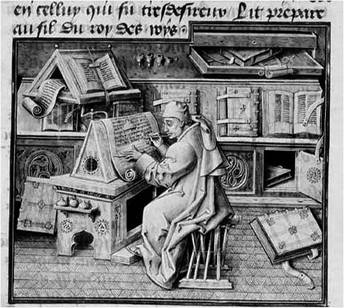 Jean de Miélot (d. 1472), canon, secretary and scribe. Paris, Bibliothèque Nationale, Ms. Fr. 9198, f. 19