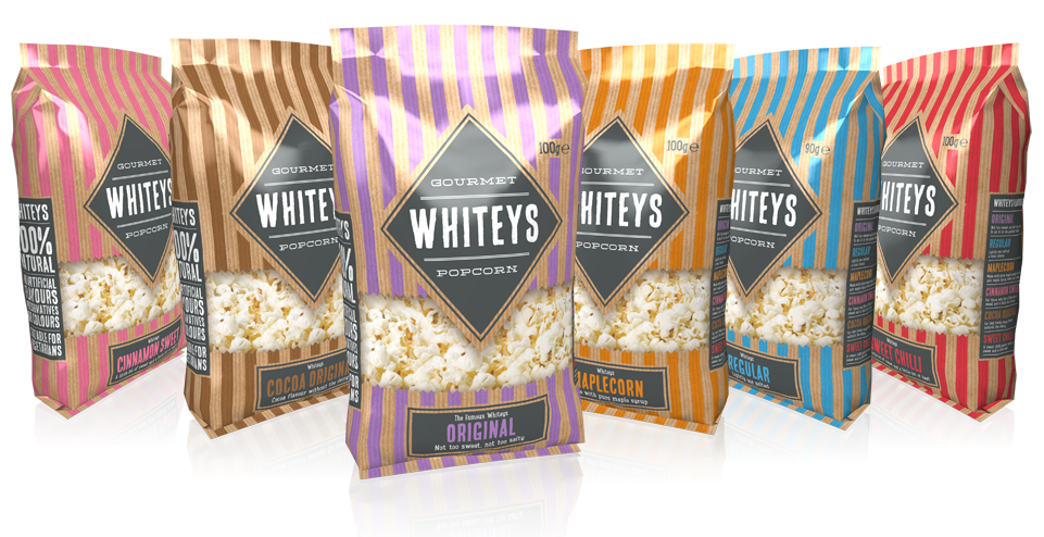 Whiteys popcorn packaging design by AD Profile