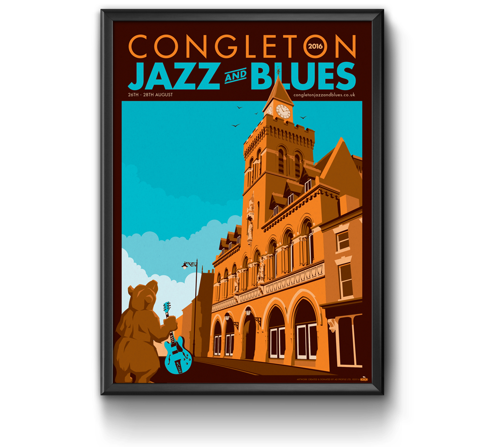 Congleton Jazz and Blues 2016 poster design by AD Profile