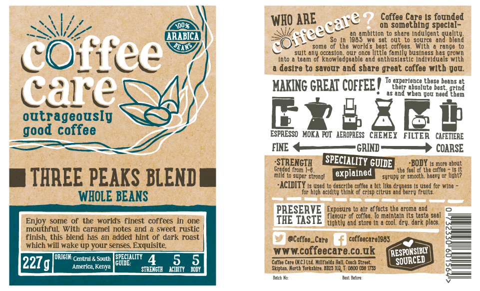 Coffee Care Packaging Design Labels by AD Profile