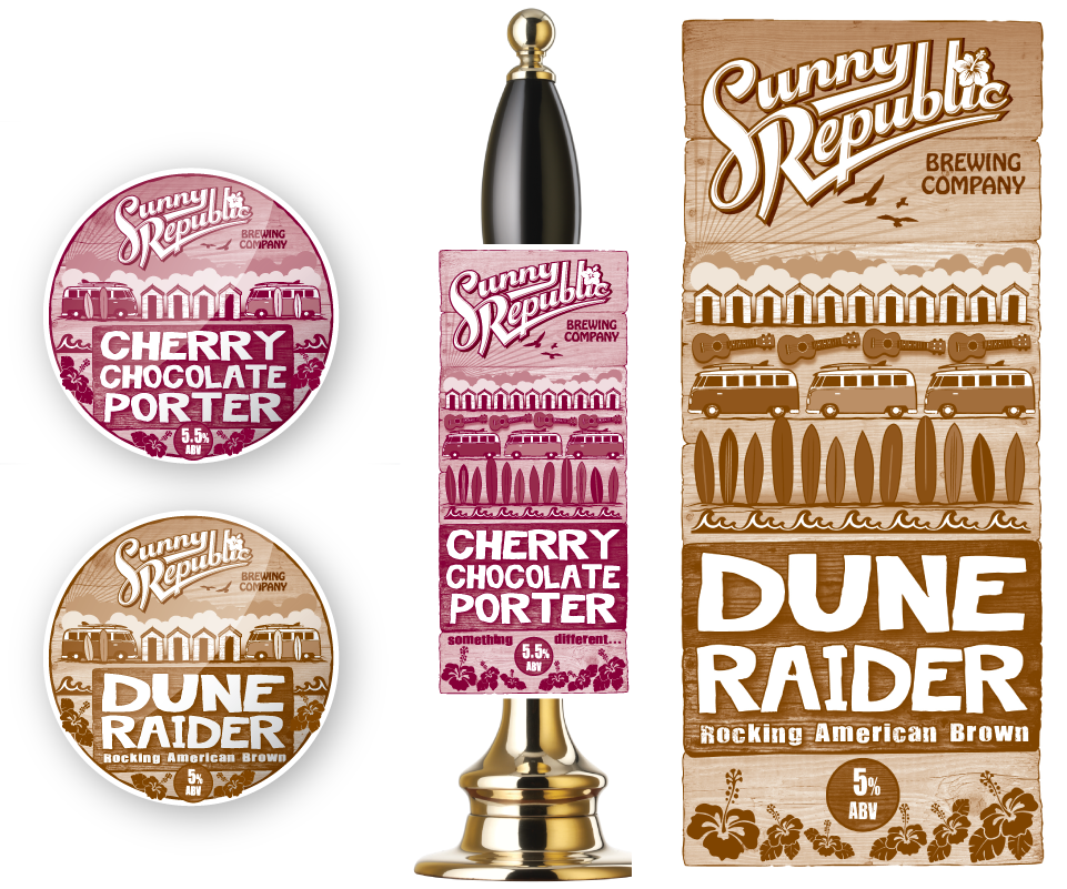 Sunny Republic pump clip artwork illustrations by AD Profile