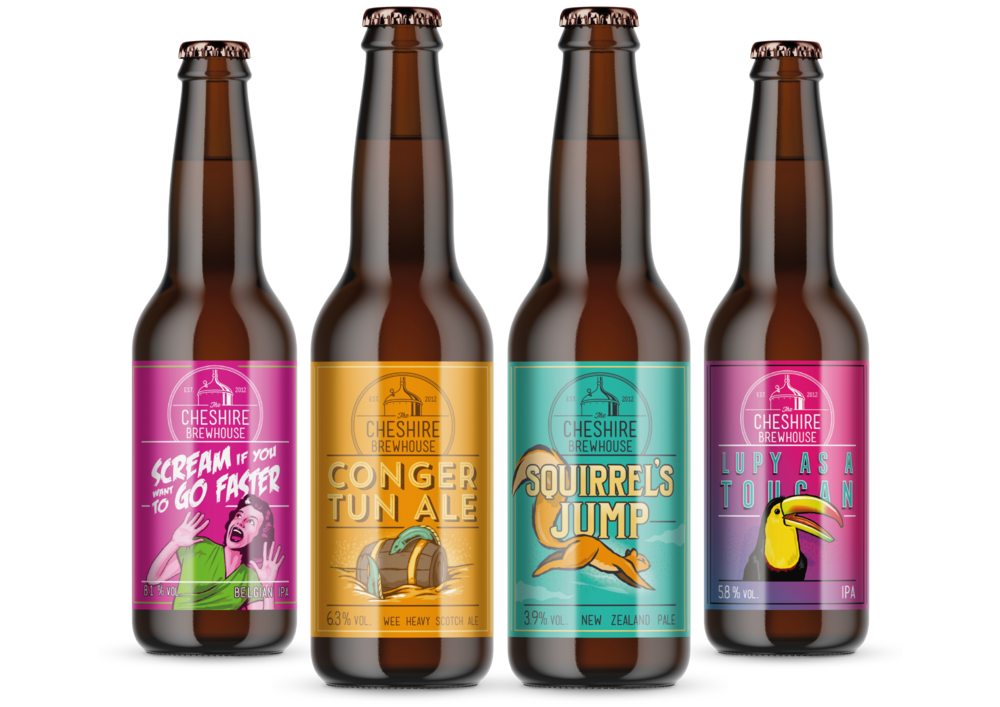 Cheshire Brewhouse Illustrated bottle label designs by AD Profile