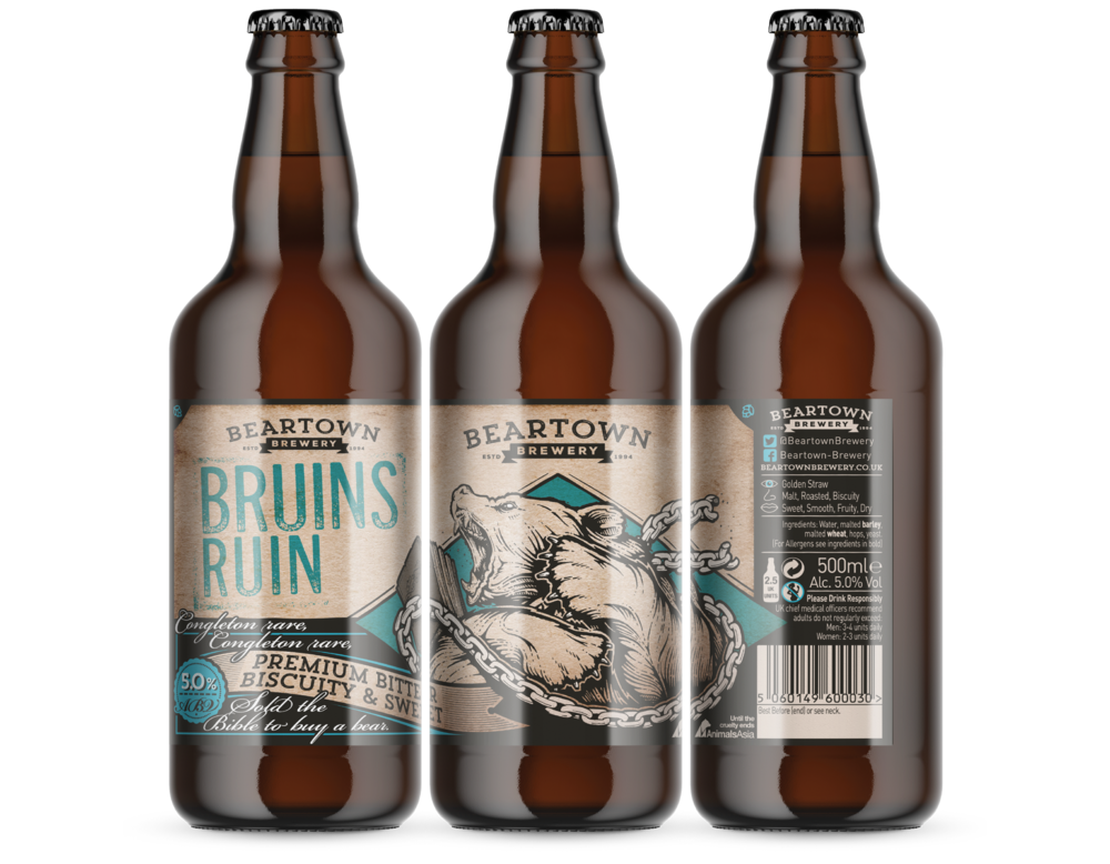 Beartown Brewery Bruins Ruin premium beer label design by AD Profile