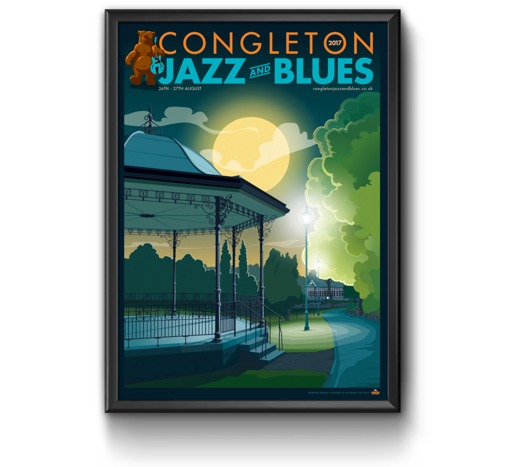 Congleton Jazz and Blues 2017 poster artwork by AD Profile