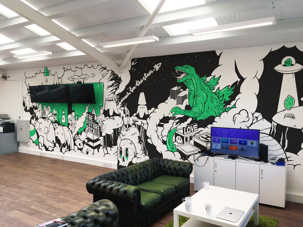 Grooup wall mural illustration