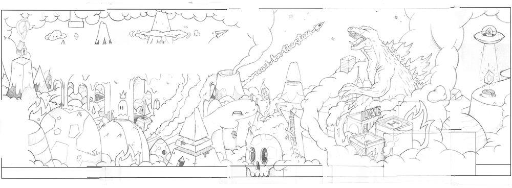 Early pencil sketch