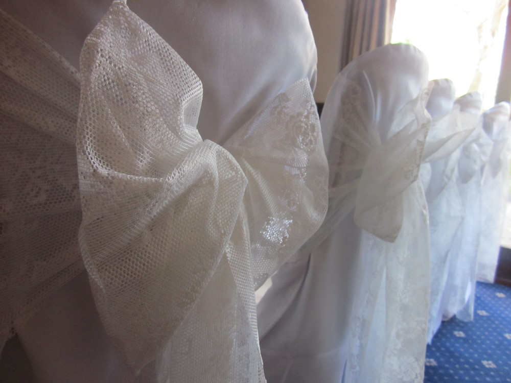 Lace chair cover sashes