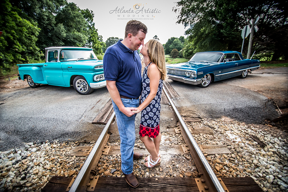 Antique Car and Truck Make a Great Back Drop for a Fun Engagement Session