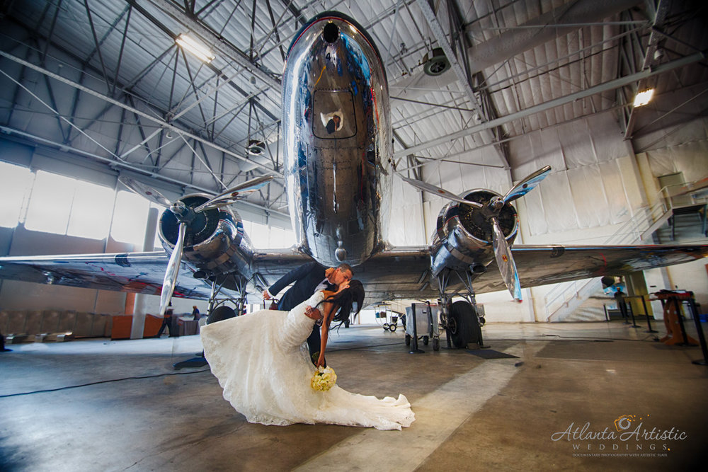 Wedding Reception at Delta Flight Museum by Atlanta Artistic Weddings
