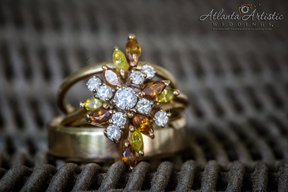 Atlanta Wedding Photographers Use Whicker Basket to Display Wedding Rings