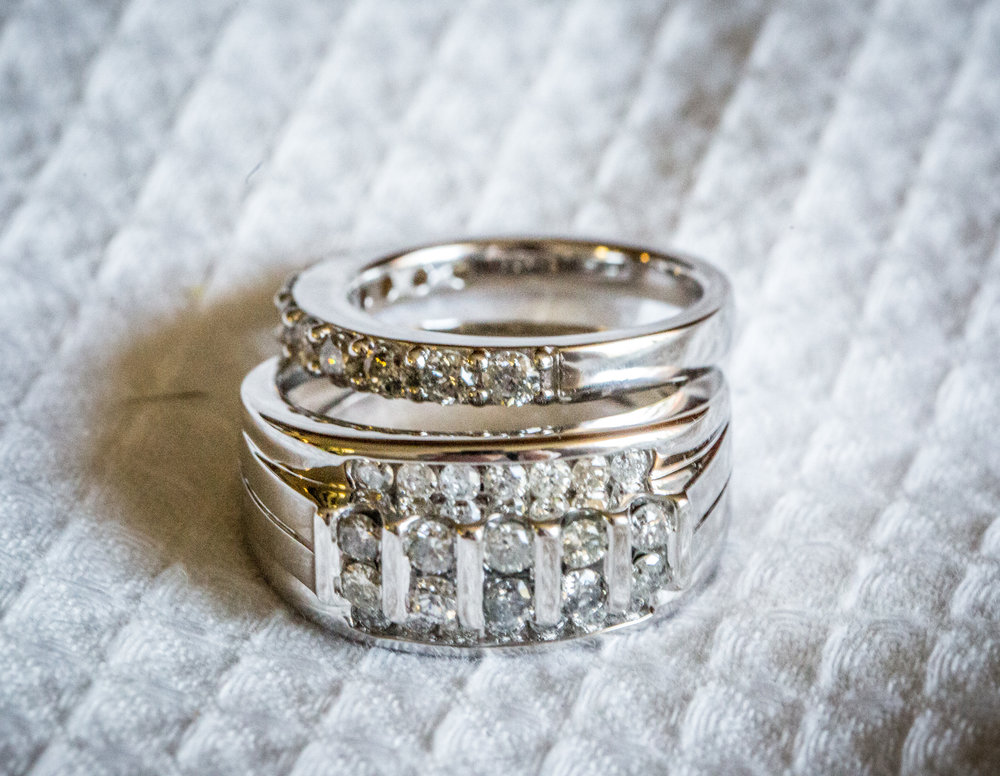 White Gold Classic Wedding Rings  photo by the  Atlanta wedding photographers  at Atlanta Artistic Weddings