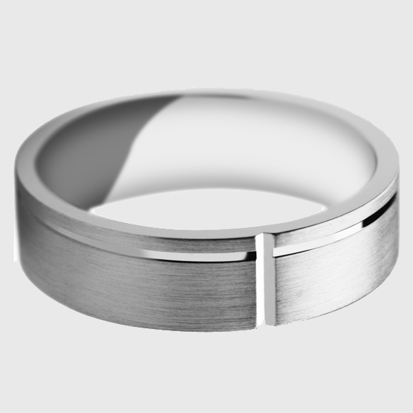 Platinum wedding band satin brushed finish polished groove notch off centre
