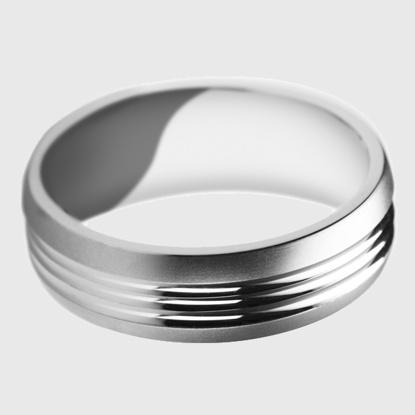 Palladium wedding band satin brushed finish with polished wavy ridges