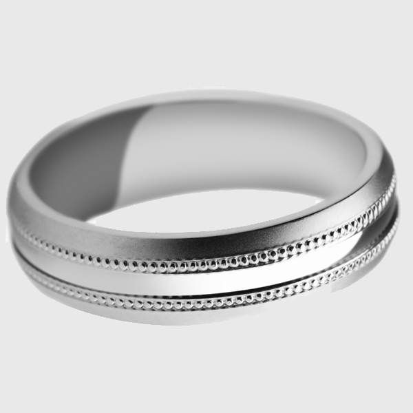 White gold wedding band satin finish polished groove milgrain