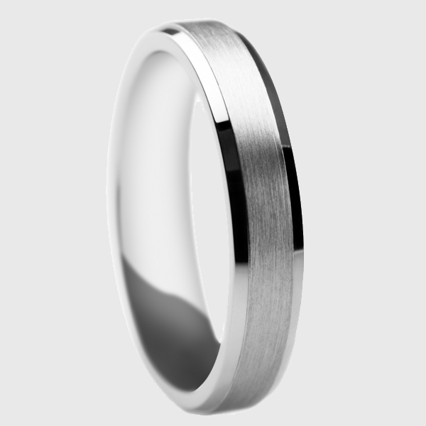 Platinum wedding band satin brushed finish with polished edges