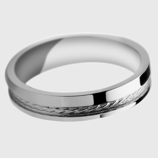 White gold wedding band polished finish with woven rope groove pattern detail