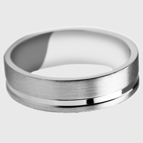 Palladium wedding band with satin brushed finish and polished off centre groove
