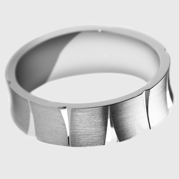 Platinum wedding band satin brushed finish with triangle polished with unique groove pattern design