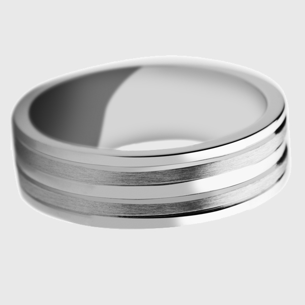 Platinum wedding band striped pattern grooves polished satin brushed alternate lines