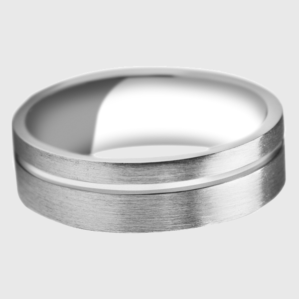 White gold wedding band with polished groove line indent