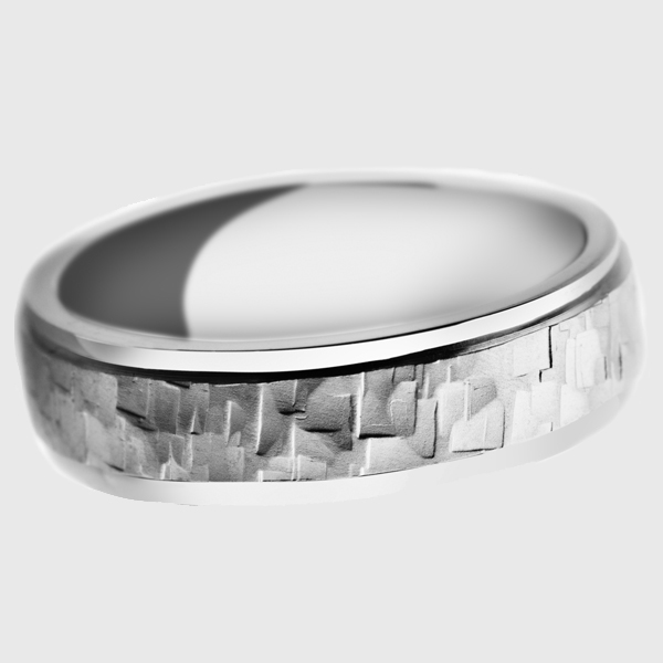 Platinum wedding band polished lathe jigsaw dented rectangle pattern