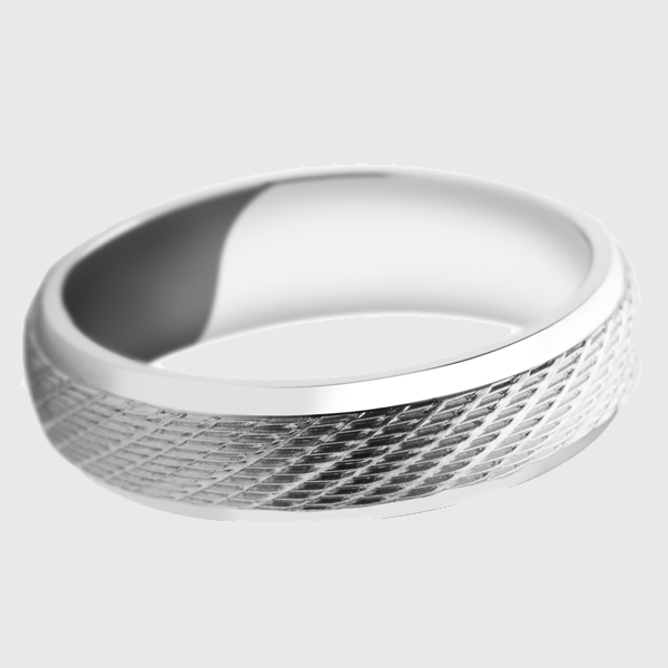 Palladium wedding band with diagonal pattern cross design