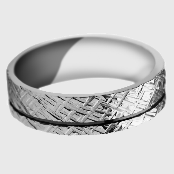 White gold wedding band enamel groove criss cross pattern diagonal lines