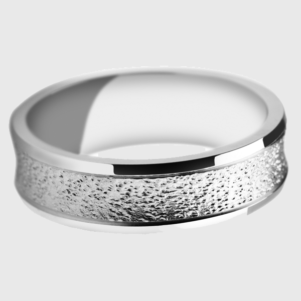 Platinum wedding band polished edges punched holes pattern design