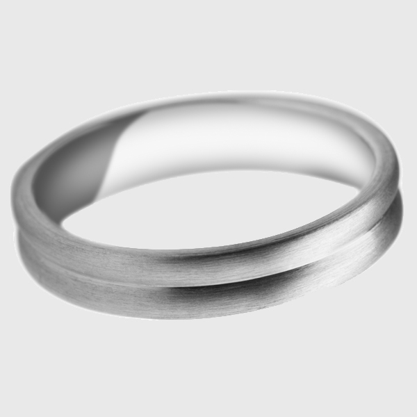 Platinum wedding band satin brushed finish curved groove design pattern split