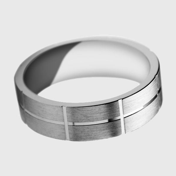 White gold wedding band satin brushed finish polished groove