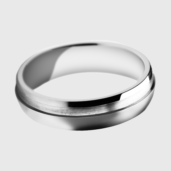 Palladium wedding band satin brushed and bead blast with polished groove