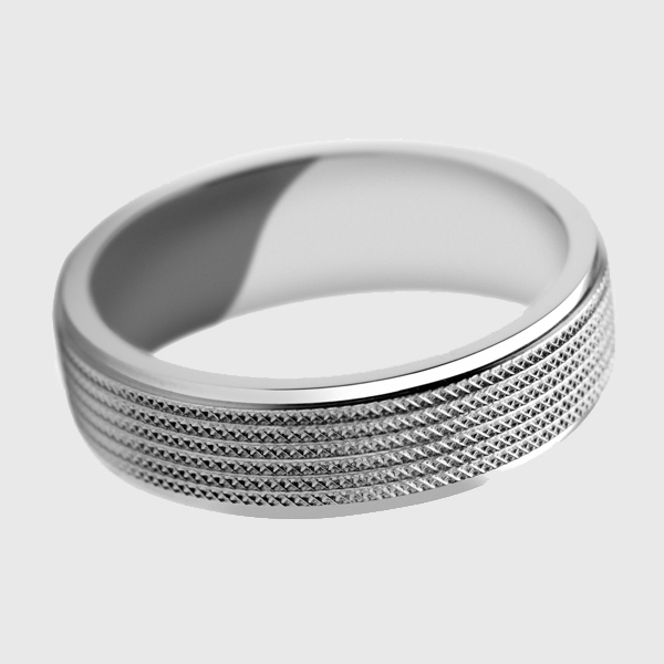 Platinum wedding band with pyramid lathe pattern finish