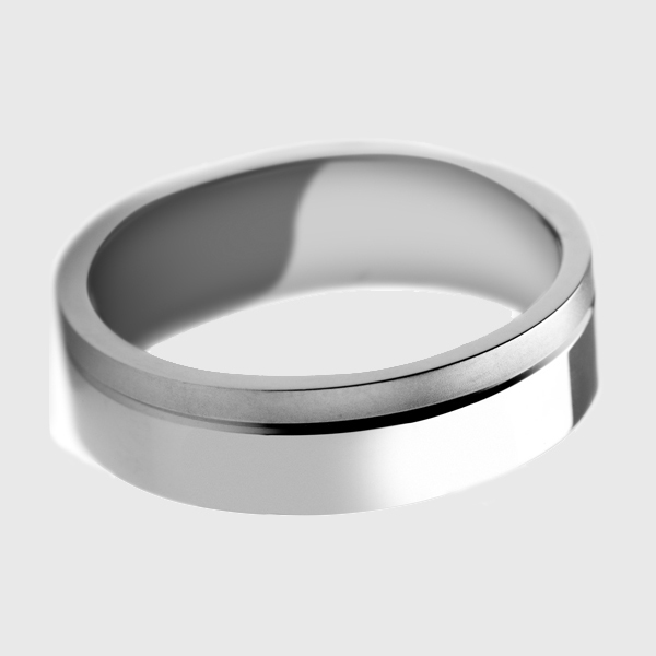 Platinum wedding band polished with satin brushed finish bead blast matte stripe line groove