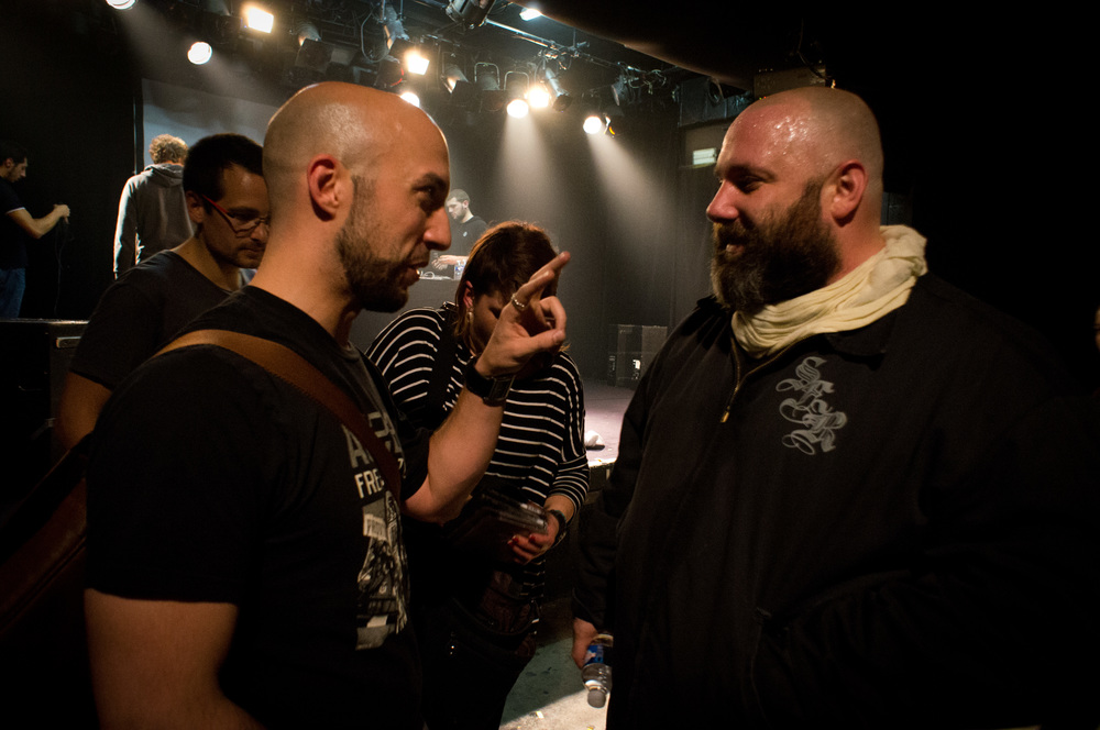 Sage and I chatting at his 31 OCT 2014 show atLa Laiterie in Strasbourg, France.
