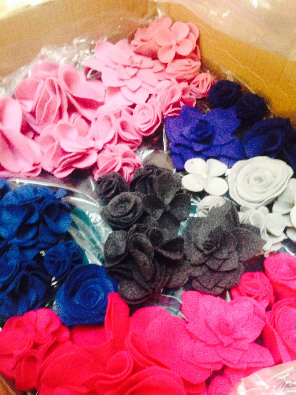 FELT FLOWERS HANDMADE AT ZOE BREWER LONDON HQ