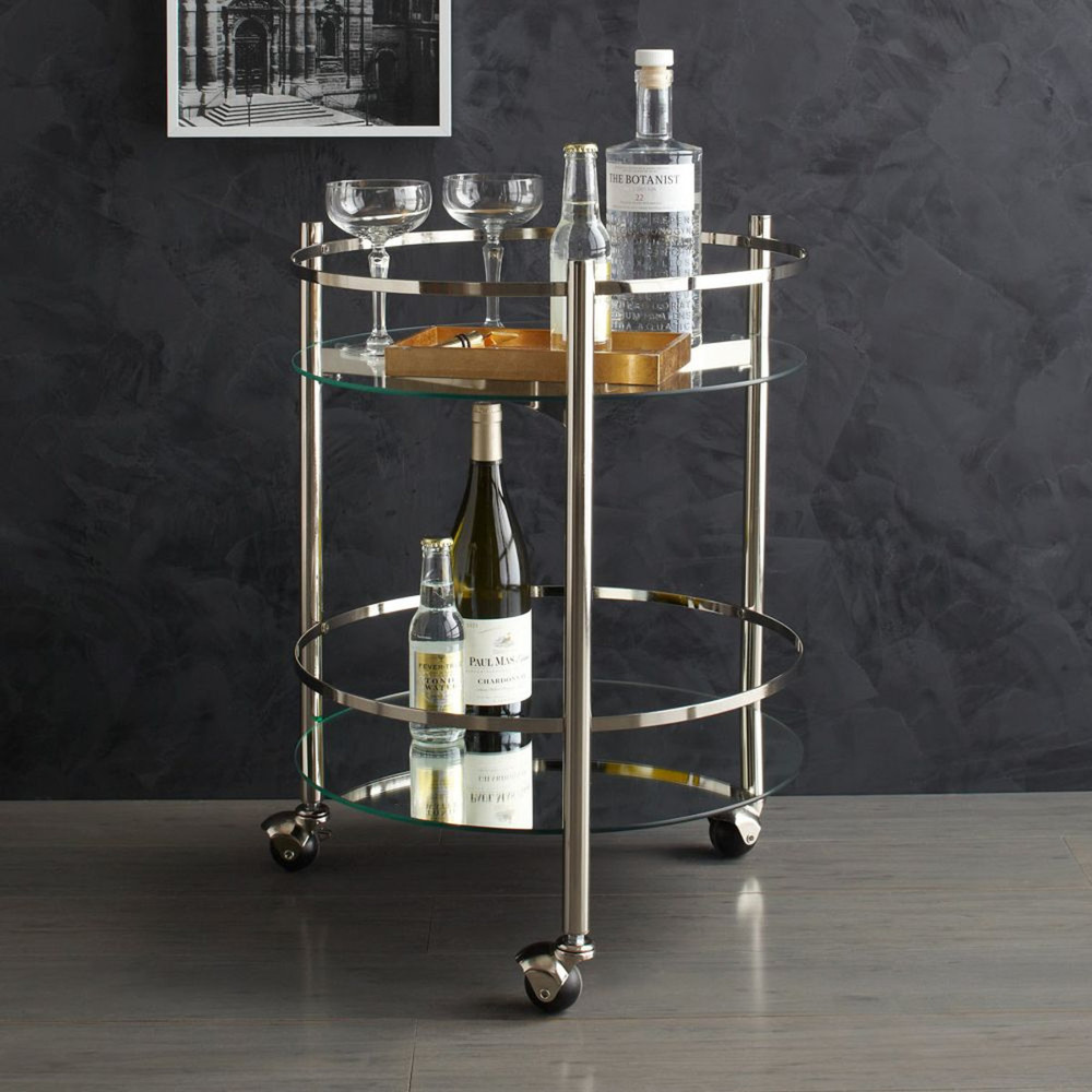 Bar Cart, £199 from West Elm. Glass top shelf. Mirrored bottom shelf. On wheels. Hurrah!