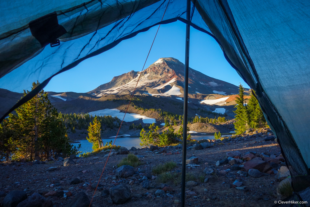 South Sister Volcano From Camp Lake. Inside the ZPacks Duplex Tent.
